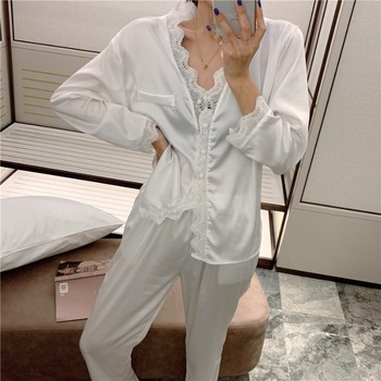 Early spring Korean style sexy lace lace white Long Sleeve thin pajamas women's simple home clothes two piece suit
