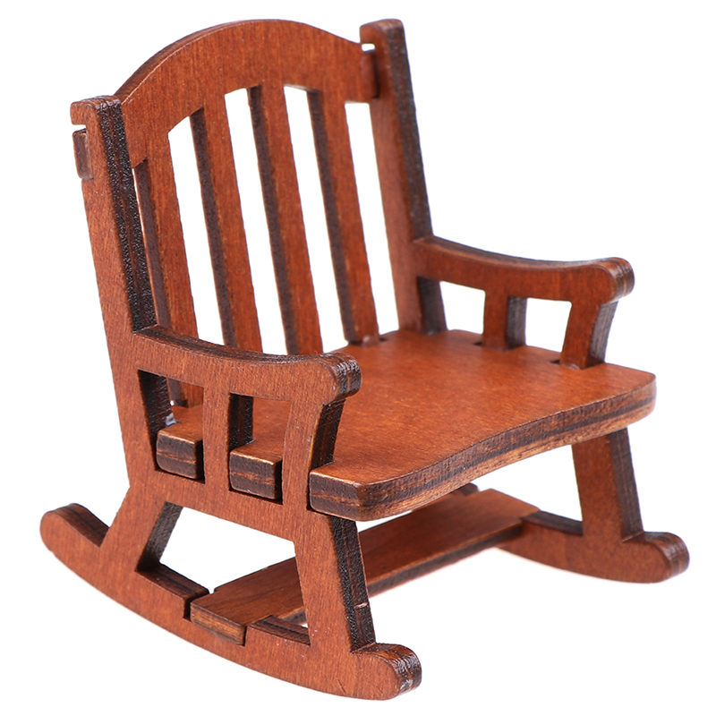 1Pcs Wooden Dollhouse Miniature Rocking Chair Seat Handicraft Wood Rocker Outdoor Garden Furniture Toys