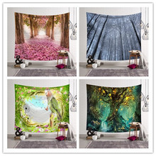 Beautiful Scenery Tapestry Wall Hanging Sunshine Cloth Forest Carpet