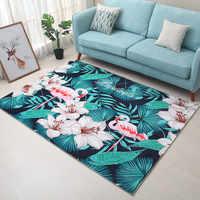 Модный Фламинго с тропическими листьями, печатный ковер для спальни, большая зона, нескользящий коврик для гостиной, для дома, Alfombra Tapis салон