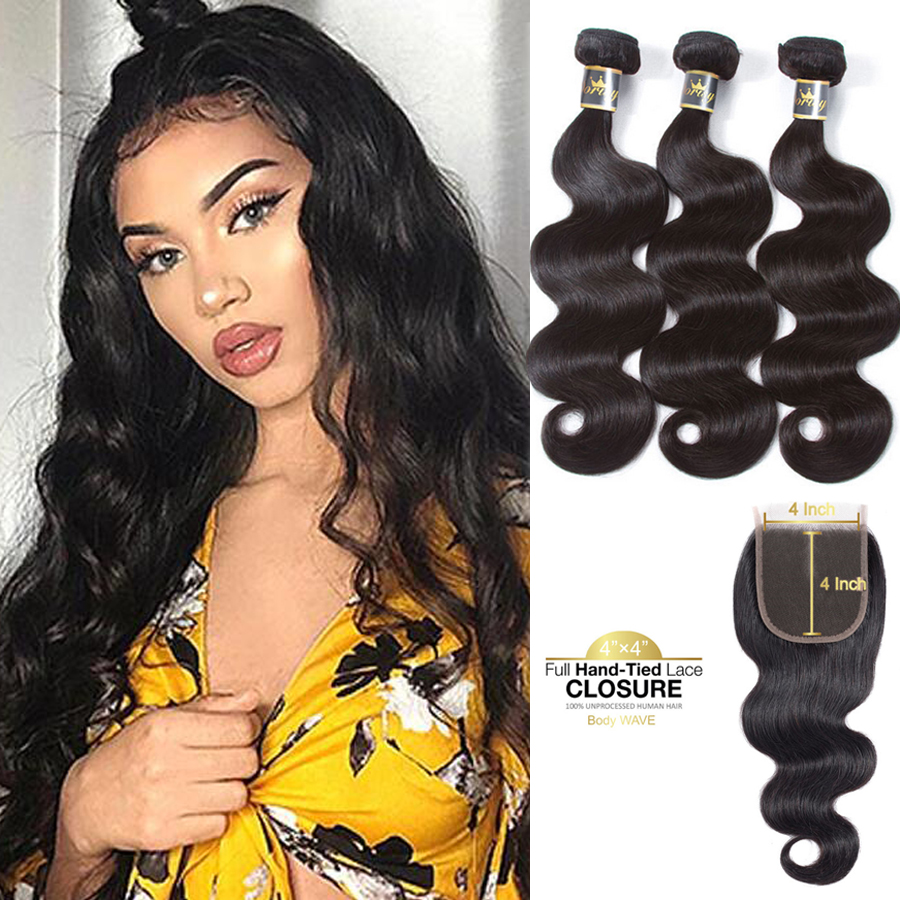 Body Wave Bundles With Closure Brazilian Human Hair Bundles With Closure Natural Color Non Remy Hair Extensions