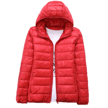 2019 Womens Autumn Jackets Black Red Ultra Thin Hooded Ladies Plus Size 3XL Warm Duck Fur Down Coat Winter Female