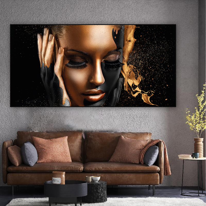 Modern Wall Art Large Canvas Painting For Living Room Decoration Golden Woman Art Pictures Print Wall Posters Home Decor Cuadros