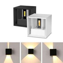 LED קיר אור מתכוונן 6W/12W IP65 כיכר עמיד למים מקורה חיצוני אלומיניום מנורת משטח רכוב מרפסת אור סלון