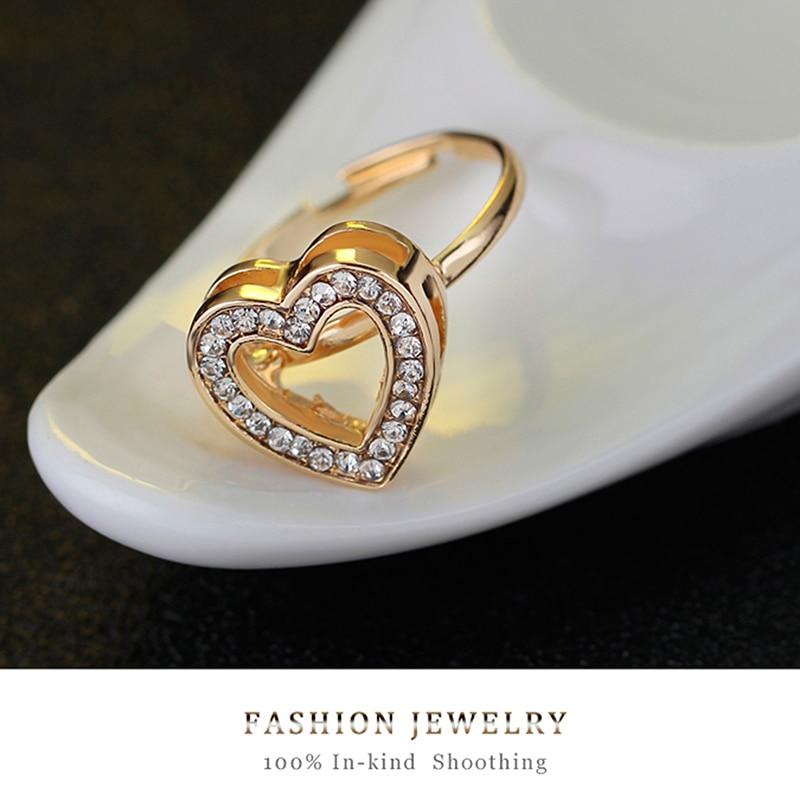4pcs/lot Heart Shaped Bracelet Neclace Earrings Sets Jewelry Crystal Lovely Gold Color Jewelry Sets For Women Girl-4
