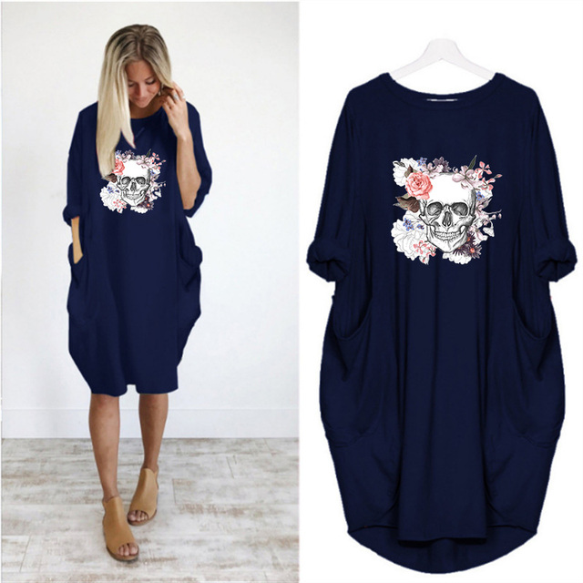 Plus Size 5XL Women's Dress Skull Print Long Sleeve O Collar Pocket Loose Casual Female Dresses Vintage Vestidos Robes Femme 3