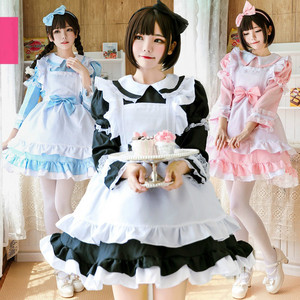 Halloween Women Adult Anime Alice Adventure Blue Party Dress Alice Dream Women Sissy Maid Lolita Cosplay Costume