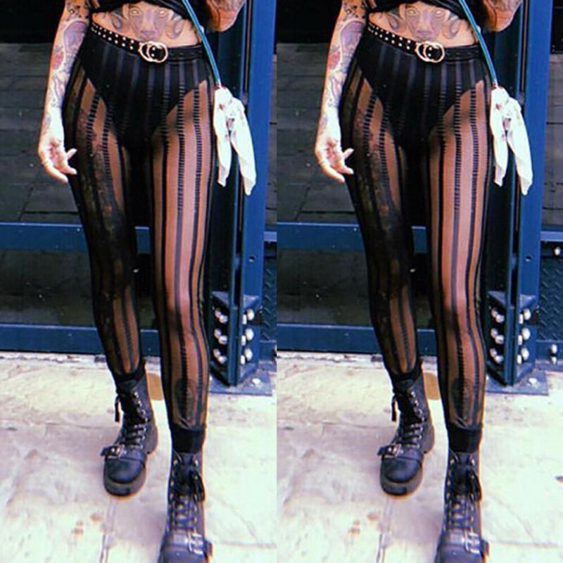 Hirigin Sexy Mesh Striped Leggings Women Striped Mesh Perspective Pants Slim Trousers HIP HOP Cool Club Wear