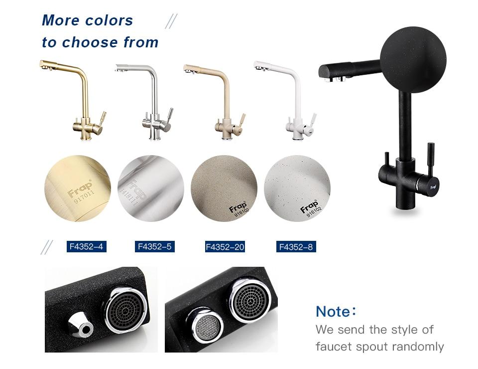 Hbfc85efb0ebb4b83aff40dc2f7902b91S Frap New Black Kitchen sink Faucet mixer Seven Letter Design 360 Degree Rotation Water Purification tap Dual Handle F4352 series