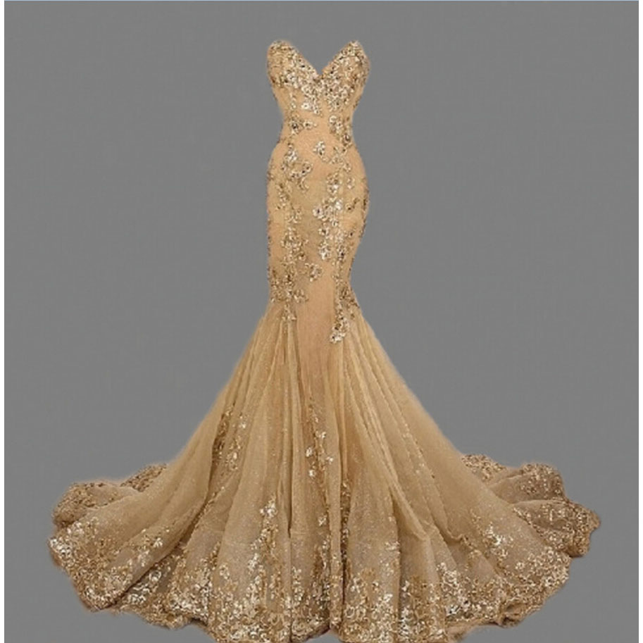 Sweetheart Mermaid Evening Long Gold Prom Sequined Appliqued Pageant Gown Robe De Soiree De Festa Mother Of The Bride Dress