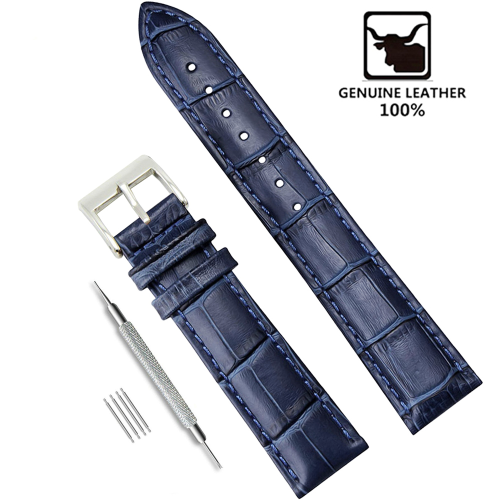 Soft Wrist Belt Bracelet Comfortable Genuine Leather Watch Strap 12/14/16/18/19/20/22/24 Mm Watch Pin Buckle Band  + Tool