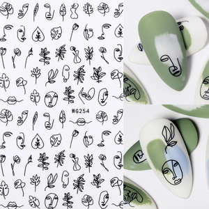 1PC 3D Nail Sticker Stick Figure Woman Face pattern special Transfer Picture Flowers Sliders Sticker DIY Nail Art Decoration