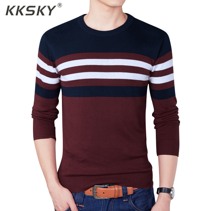 Mens Sweaters Cotton Pullovers Long Sleeve Knitted Sweater Men Casual Slim Striped Pull Homme O Neck Knitwear M-4XL Coats
