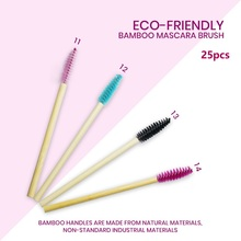 25pcs Bamboo Handle Eyelash Brush Bamboo Lash Wand Makeup Brush Eyelash Extensio