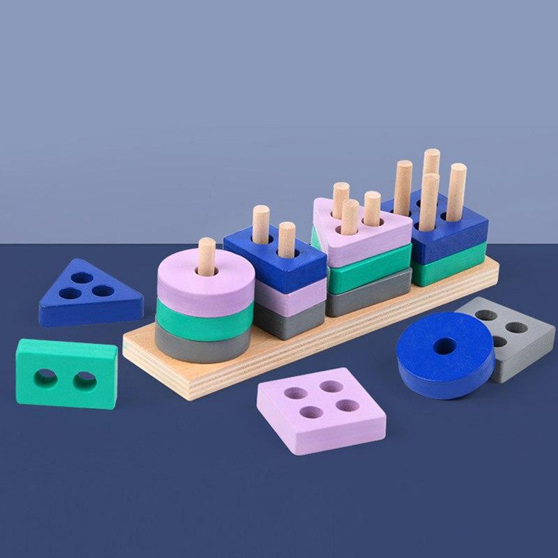 1 комплект деревянный в виде геометрических фигур Форма одинаковая, строительные блоки, игрушки, Цвет познания для детей раннего интеллиген...
