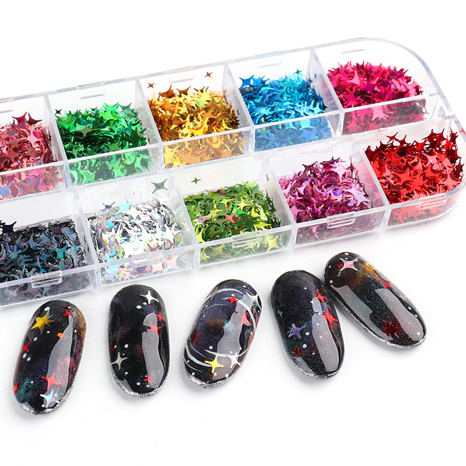 Laser Star Glitter Nails Spangles Silver Black Nail Paillette Mixed Colorful Flakes Manicure UV Gel Nail Decor (11)