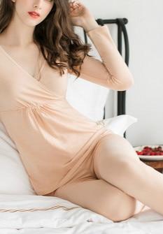 Утолщенная Одежда для беременных женщин из хлопка размера плюс XXL, модное термобелье из модала, одежда для сна, Женский Топ для кормления грудью, домашняя одежда - Цвет: skin color