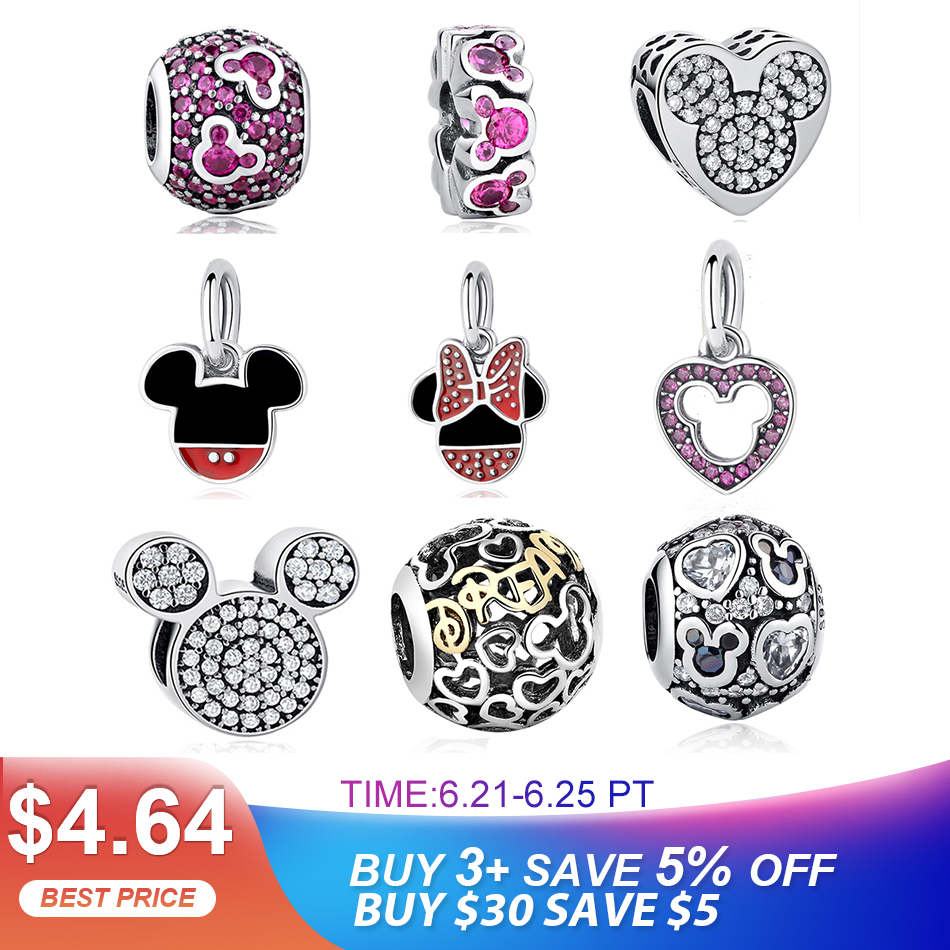 Fit Charms 925 Sterling Silver Original Bracelet  Minnie Beads Charms Cartoon Beads for Jewelry Making Berloque