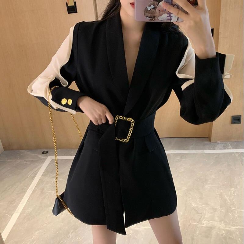 2019 High Quality Women Thin Models Suit BlazerMetal Gold Buckle Belt Black Blazers Femme Fashion Ladies Jacket Coat