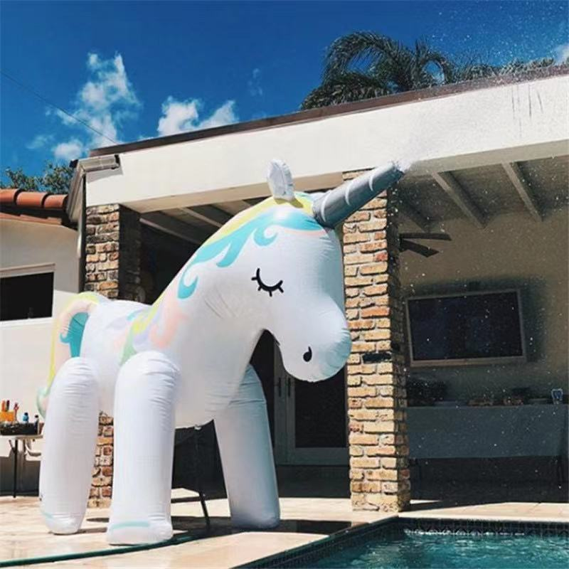 Summer Home PVC Animal Sprinkle Water Park Inflatable Outdoor Beach Toys Children Play Water Unicorn Spray Water Toy Family Game
