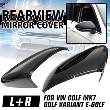 Pair Rearview Mirror Cover Side Wing Rear View Mirror Case Covers Glossy Black For  VW GOLF 7 MK7 MK7.5 GTI R GTE GTD 2013-2018