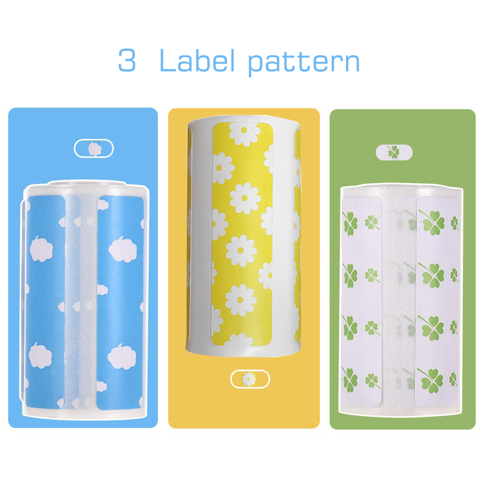 Cartoon Direct Thermal Labels Roll 57x30mm Strong Adhesive Sticker Printing For PeriPage A6 Thermal Printer (3 Pattern Option)