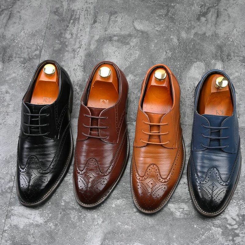 2019 Newest Men Dress Shoes Designer Business Office Lace-Up Shoes Men's Flat Party  Office Wedding Leather Formal Shoes A51-54