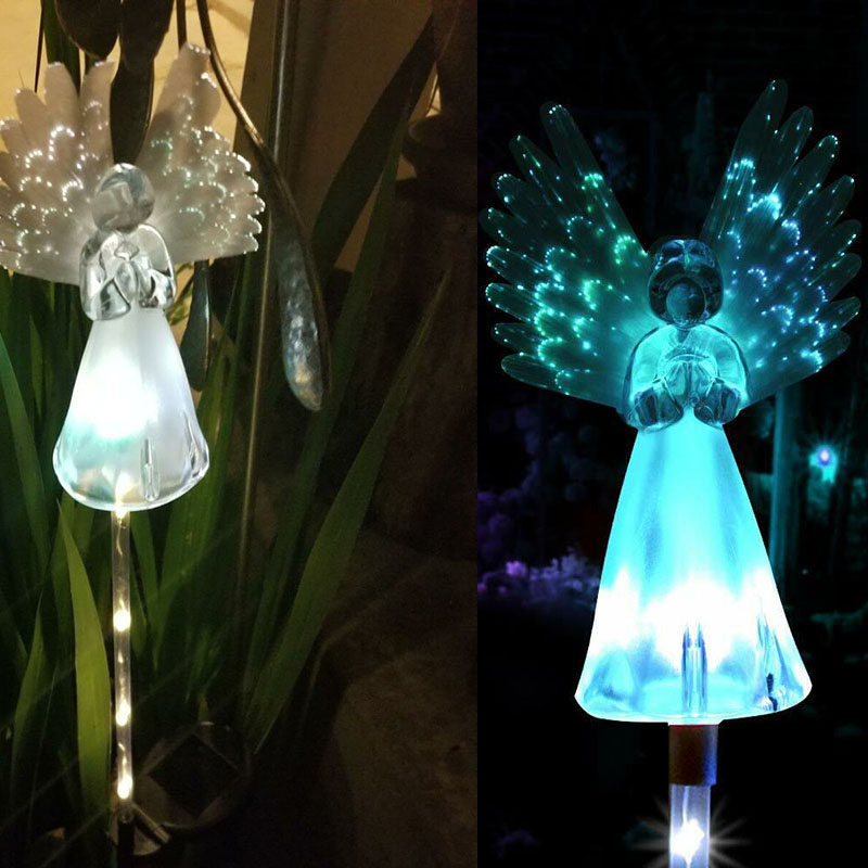 Colorful Color Changing Solar Angel Lights Outdoor Garden Courtyard Path Decorative Light Wings Wings Souvenir Decoration