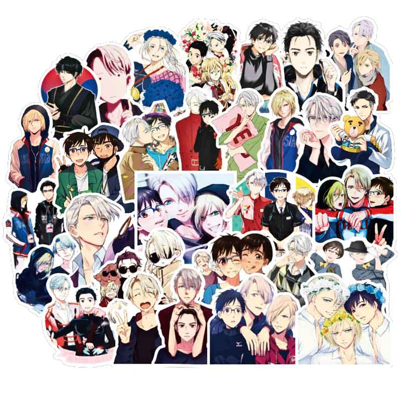 50pcs YURI!!! On ICE Anime Sticker Cartoon PVC For Graffiti Stickers Case Laptop Car Suitcase Luggage Guitar Children Toys F4