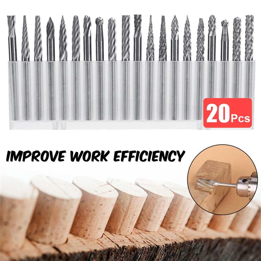 Juego de 20 herramientas rotativas de tungsteno para grabado de alta velocidad con mango de 3 mm