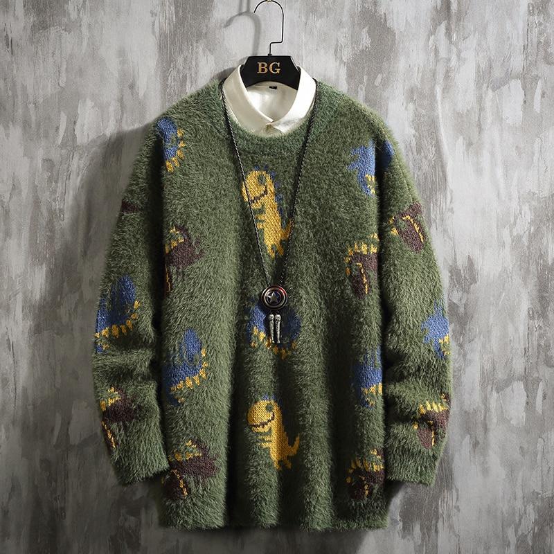 UYUK2019 Зима S Новая линия японского большого размера мультфильм мохер утолщенный с теплым повседневные свободные мужские свитера Hombre Джемперы       АлиЭкспресс