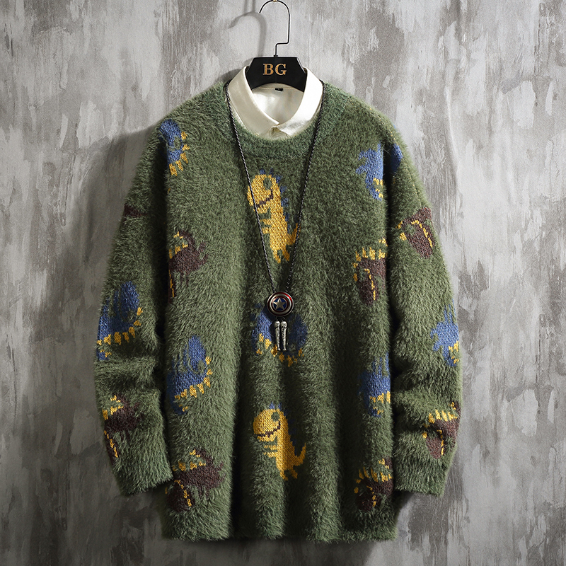 UYUK2019 Winter S New Line Of Japanese Large Size Cartoon Mohair Thickened With Warm Casual Loose Men S Sweaters Hombre