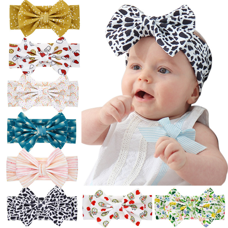 Cotton Print Baby Headbands Stretchy Twist Knot Bow Head Wrap Newborn Baby Girl Boy Turban Hairbands Baby Accessories Kids Gifts