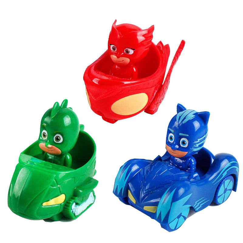 3pcs Model Driving Characters PJ Masks Car Jouet Toy Oyuncak Greg Amaya Freddy Pajamas Toy Juguetes Anime Figure