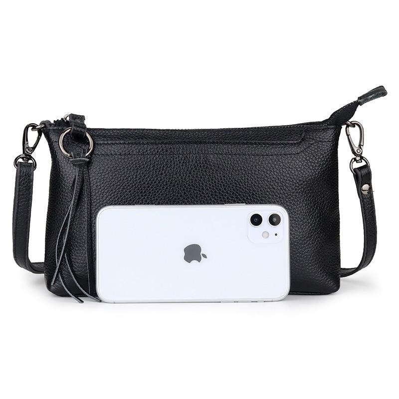 Genuine Leather Women Cross-Body Bag 2021 Simple Small Square Handbags Versatile Lady Shoulder Purse  Bolso Mujer