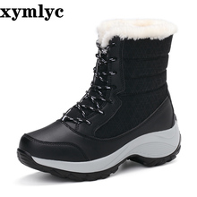 цена на 2020 Women ankle boots waterproof non-slip snow boots women winter boots thick fur platform winter shoes big size 35-42