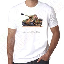 Cartoon Car Army German Panther Tank Men 100% Cotton White 2020 Summer New Men Funny Casual Brand Top Shirt(China)