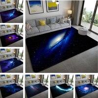 3d 푸른 행성 별이 빛나는 하늘 카펫 벨벳 거실 침실 대형 러그 어린이 방 소프트 소파 팔러 카펫 키즈 플로어 매트