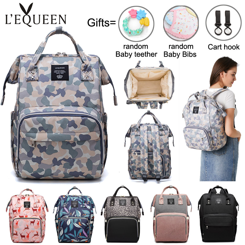 Lequeen Diaper Bag Multi-function Insulation Mommy Backpack Large Capacity Baby Nappy Bags Eco-friendly Fabric Baby Care Bag
