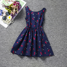 Cherry Pattern Sleeveless Kids Dresses for Girls  Fashion Cute Backless Girls Dress Bow-knot High Quality Princess Dress недорого