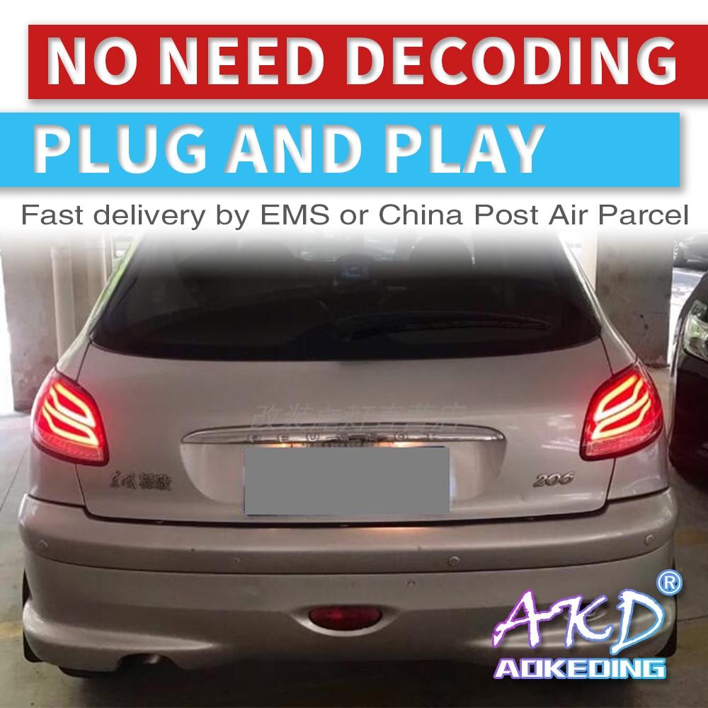 AKD Tuning Cars Tail Lights For Peugeot 206 207 206C Taillights LED DRL Running Lights Fog Lights Angel Eyes Rear Parking Lights