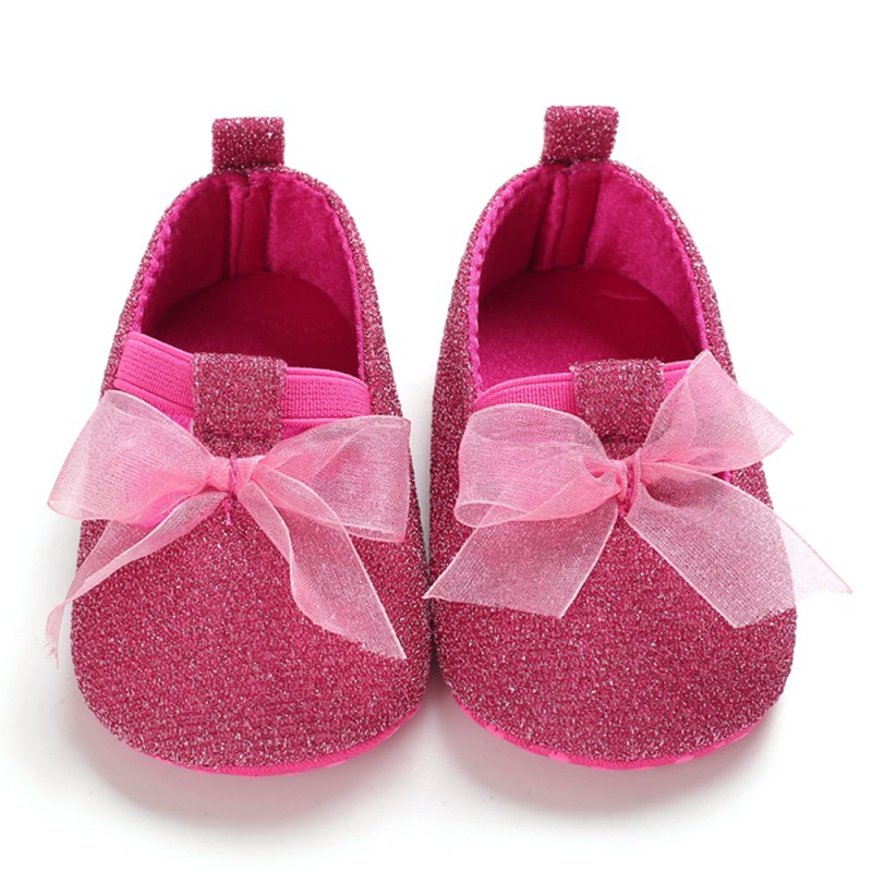 First Walkers Shoes Toddler Kids Baby Girls PU Princess Ribbon Bow Loving Heart Shoes Crib Sole Sneaker For 0-18M