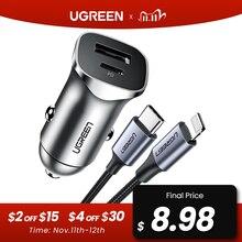 Ugreen Sạc Nhanh Quick Charge 4.0 3.0 QC Cổng USB Sạc Cho Xiaomi QC4.0 QC3.0 18W Loại C PD Sạc Xe Hơi cho iPhone 12 X Xs 8 PD Sạc