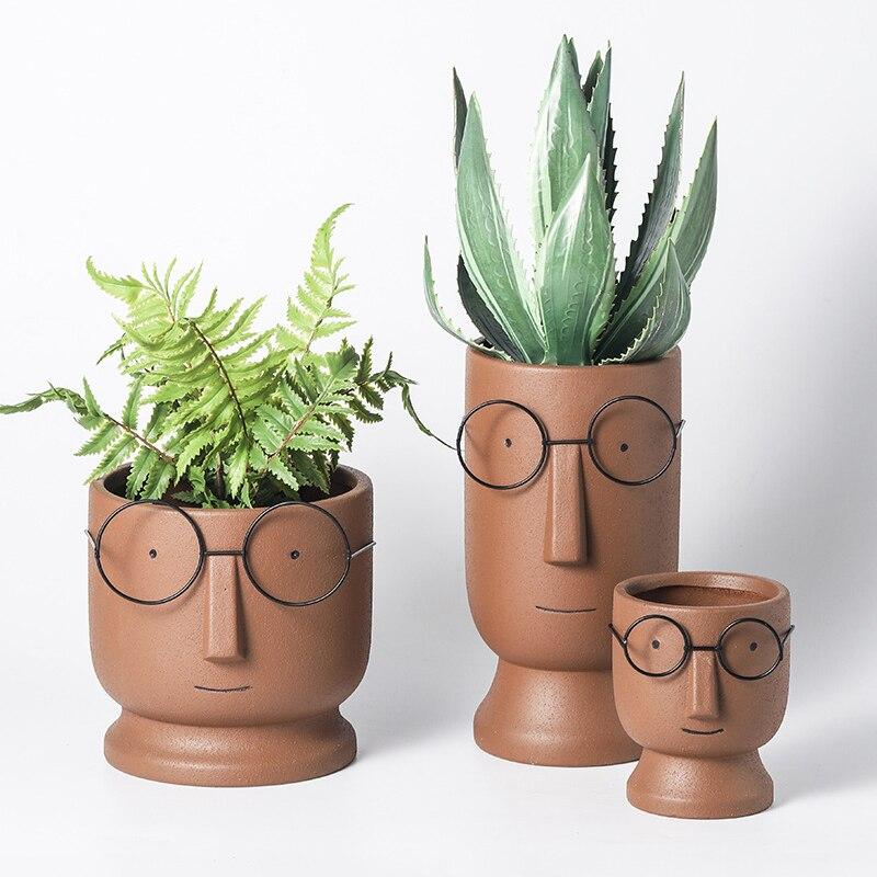 Cartoon Fashion Simple Art Dried Flower Vase Nordic Cute Glasses Boy Ceramic Succulent Flower Pot Indoor Home Garden Decoration Just6F