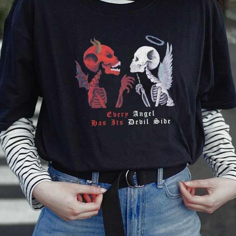 Angel Devil Gothic T Shirt Women s Skeleton Print Grunge Aesthetic Goth T Shirt Dark Edgy Fashion Streetwear Graphic Tee T Shirts AliExpress