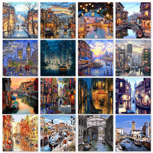 Painting By Numbers City Drawing On Canvas HandPainted Art Gift DIY Picture Night Paintings By Numbers With Paints Room Wall Art
