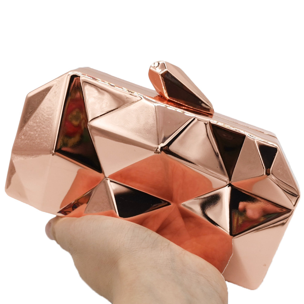 Image 2 - Boutique De FGG Hexagon Women Rose Gold Metal Clutches Fashion Evening Party Box Clutch Bag Chain Shoulder Handbag Purse-in Top-Handle Bags from Luggage & Bags
