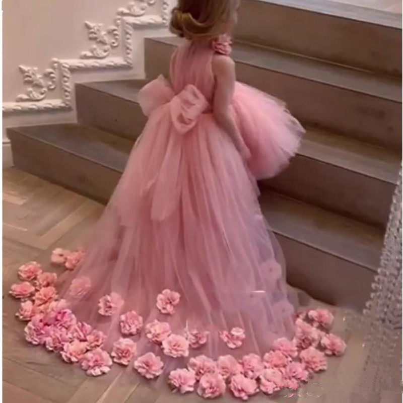 Real Image Lovely Flower Girl Dresses For Wedding High-Neck Tulle Floor Length Ball Gown Junior Bridesmaid Dress For Girls
