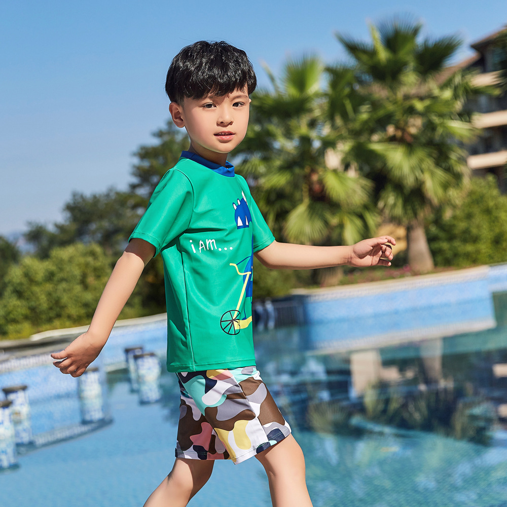 2019 Children Split Type Swimsuit Male Baby Bubble Hot Spring Swimsuit For Boys Handsome Cute Sports Olive Flower 1053