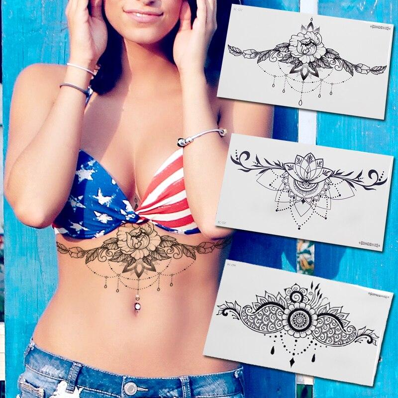Temporary Fashion Tattoos Jewelry Body Stickers Egypt Arabic Indian Mandala Temporary Tattoo Sticker Underboob Sexy Tatoo Girls
